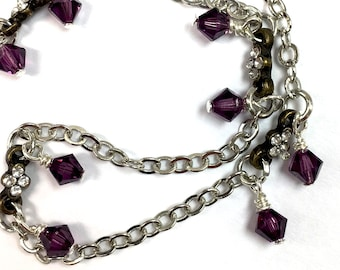 Amethyst Colored Swarovski Crystal Element Delicate February Birthstone Necklace