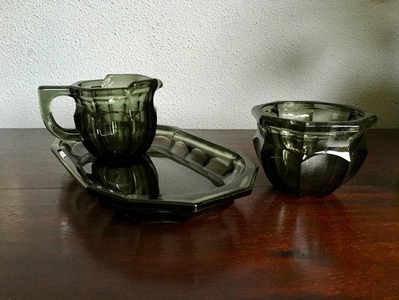 Art Deco Stijl : Art deco cream sugar set in dark green black heavy glass etsy