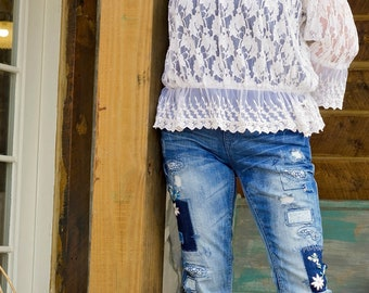 Patchwork & Floral Embroidery Skinny Jeans