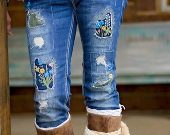 Floral & Patch Skinny Jeans