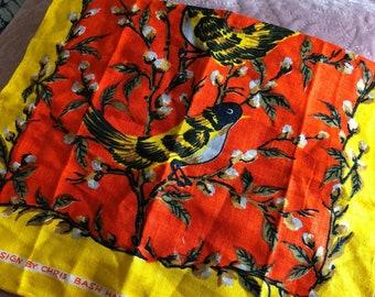 Vintage Chris Bash Linen Bird Tea Towel