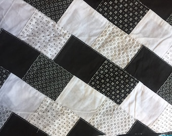 """Cheater Quilt Patchwork Fabric Black and White 45"""" wide 1 yard cut 100% cotto"""