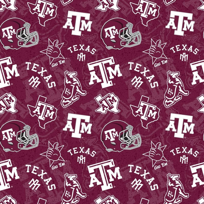 Texas A/&M NCAA Fabric Tone on Tone Pattern 44 inches wide 100/% cotton 1178