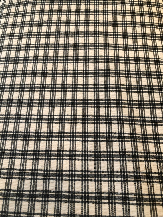 Black And White Plaid Seersucker Fabric Cotton 48wide 100 Etsy