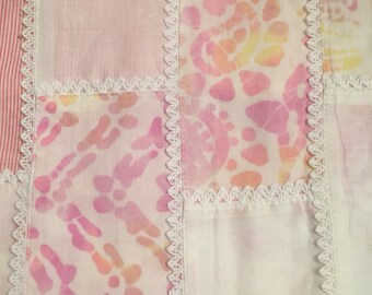 Pink Multi Print Patchwork Cheater Quilt Fabric 2 yard cut