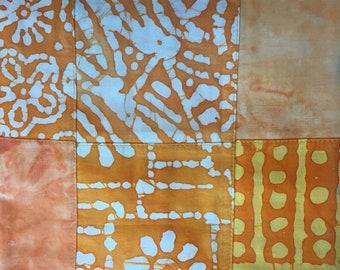 "Orange Batik Cheater Quilt Patchwork Fabric 45"" wide 1.5 yard cut 100% cotton"