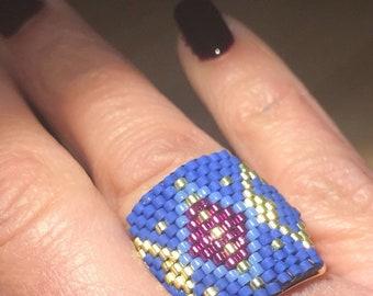 Ring, hanmade miyuki rings, spring colors, elegance women