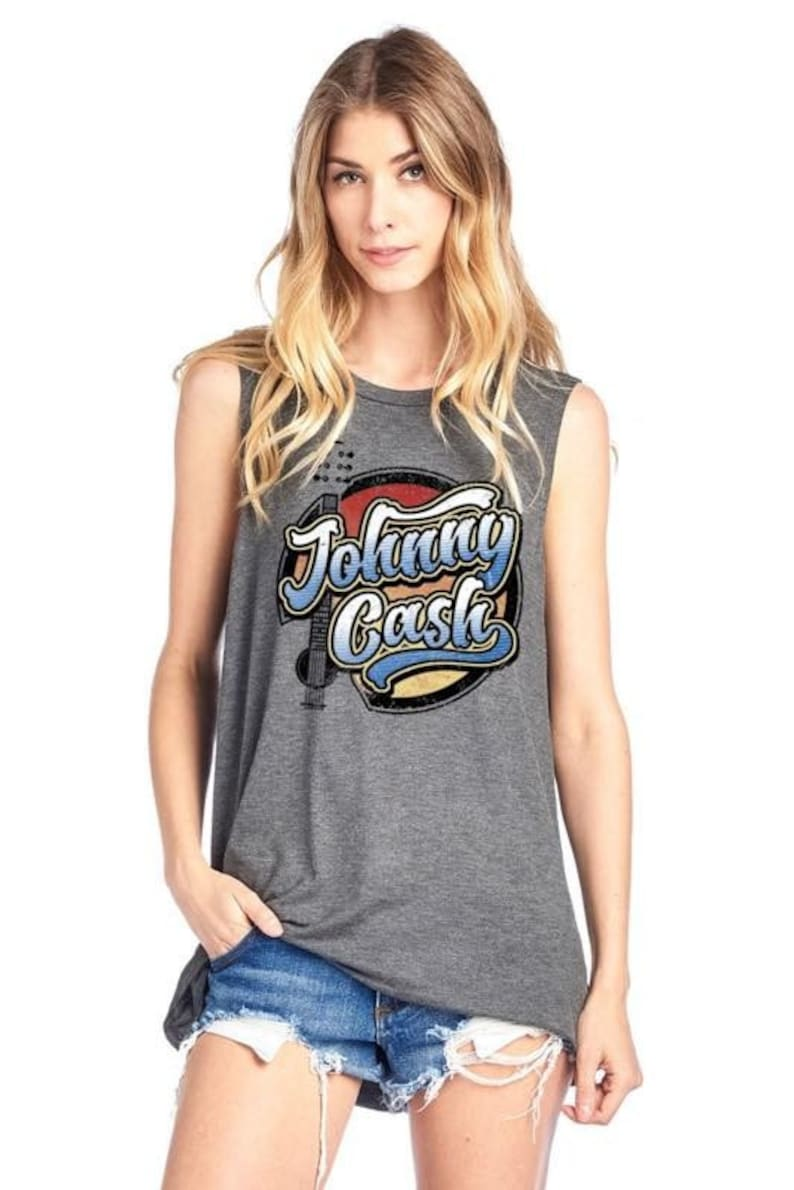 tank top Johnny Cash graphic top country music country vibes fashion guitar graphic graphic tops graphic tees women/'s clothing