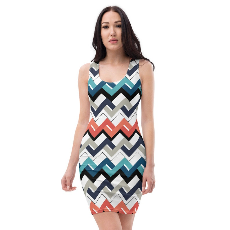 Mod Teal Orange Navy Geometric Bodycon Fitted Party Dress