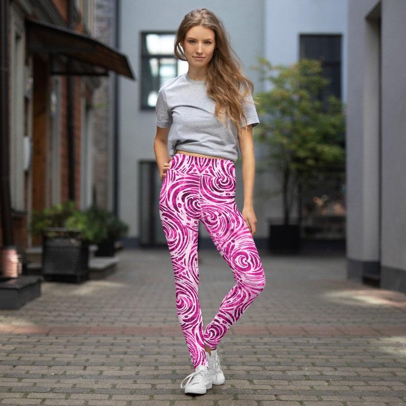 Swilry Pink Tie Dye Yoga Pants Leggings