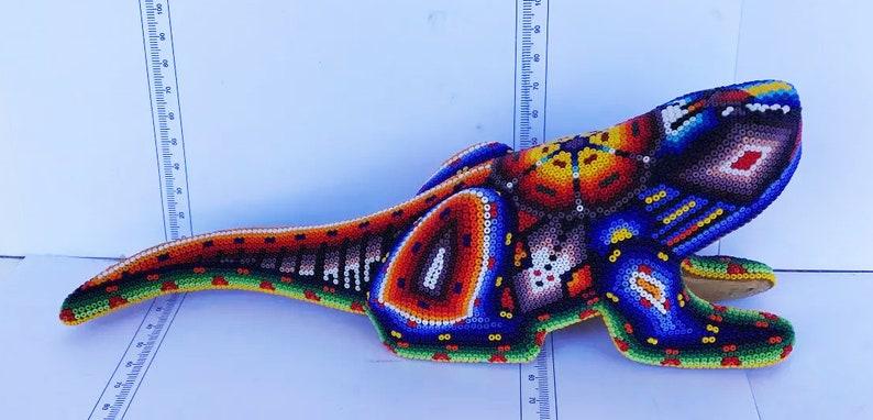 Wood Figure colored by beads FREE SHIPPING Huichol Art Sacred Iguana