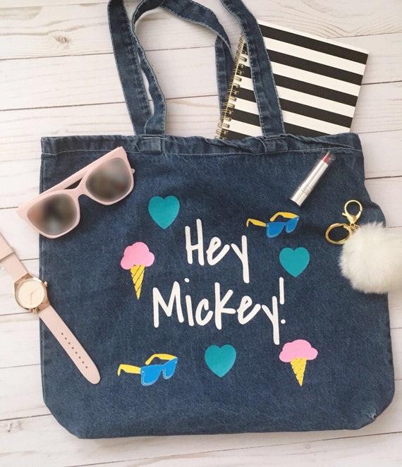 mickey tote bag mickey mouse bag mickey purse cute denim etsy