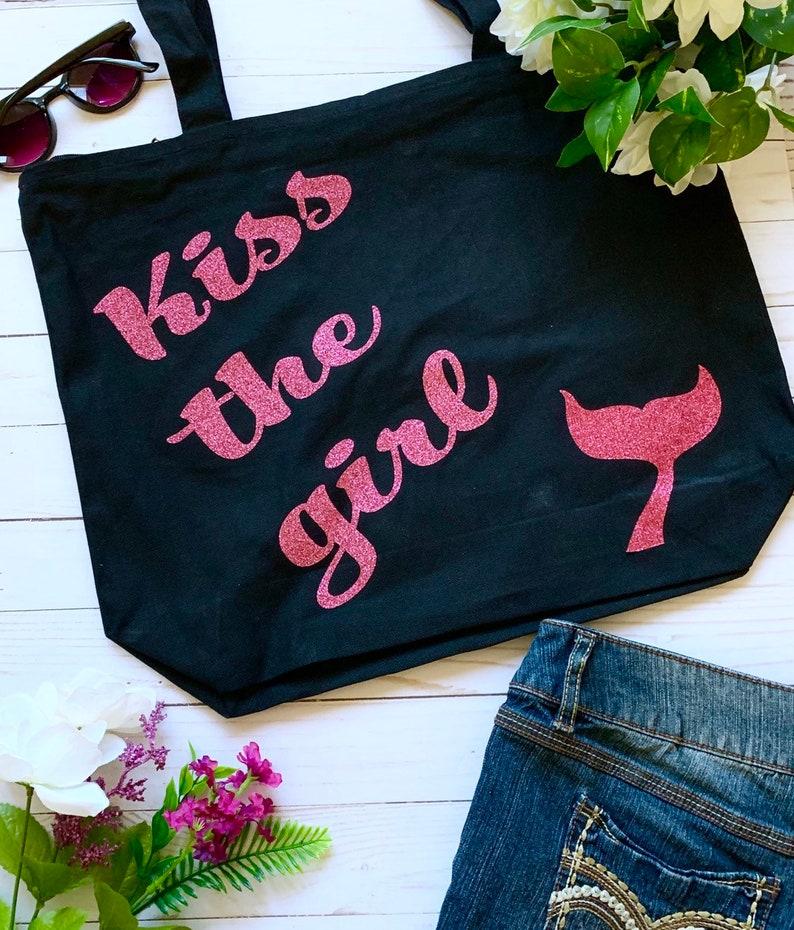 Little Mermaid Purse Mermaid Bag Weekender Bag Mermaid Gifts Kiss The Girl Tote Bag With Zipper Large Tote Bag Canvas Tote Bag