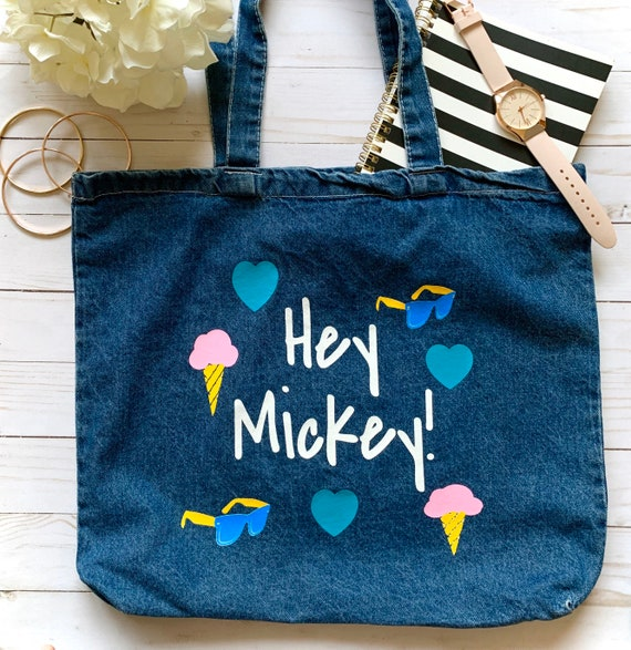 Sac Disney (Disney Bag) Cadeau de Valentines de Disney (disney) Mickey Purse France Sac fourre tout Disney (disney Tote Bag) Poursuite en denim (fr)