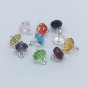 Crystal Glass Bead Charms Mixed Colors 6x3.3mm Faceted Rondelle Wired Bead Drops