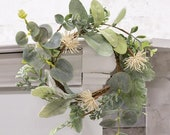 Aberdeen Sea Holly Candle Ring 9 quot Candle Greenery Wedding Wreath Tiered Tray Decor Mini Wreath Pillar Candle Ring