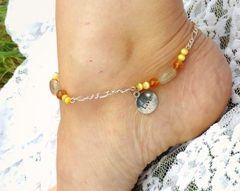 "Gemstone anklet prosperity Citrine, Rutilated quartz, ""live"" charm"
