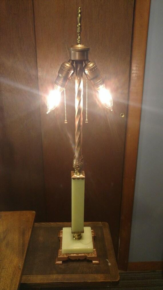 Art Deco 1920s Era Jadeite Double Bulb Table Lamp Vintage Etsy