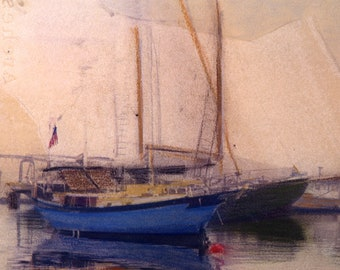 New England Photography | Sailboats moored | Polaroid Image Transfer painted with pastels | New England gifts | Sailing photo | fine art |