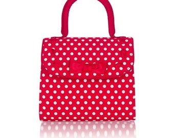 Hand bag with polka dots in red and white