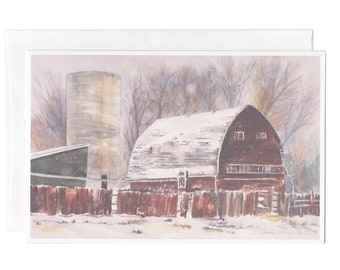 Winter on the Farm, Set of 6 Greeting cards by Janice Walker Hall