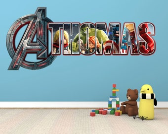 Personalised Avengers Logo Lego Marvel Any Name Wall Decal Stickers *3  Sizes*