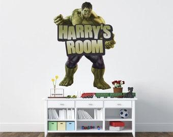 Any name incredible hulk wall sticker boys bedroom art kids marvel avengers