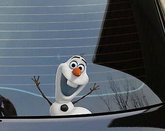 Olaf frozen funny car/van/bumper/window vinyl decal sticker peeper vw euro elsa
