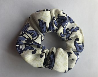 White and Blue Flower Scrunchie