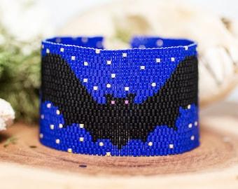 Flying Bats Halloween Seed Bead Bracelet, Beadwoven Wide Cuff Bracelet