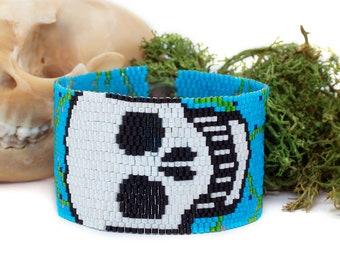 Flower Skull Seed Bead Bracelet, Beadwoven Wide Cuff Bracelet, Spooky Beaded Halloween Jewelry
