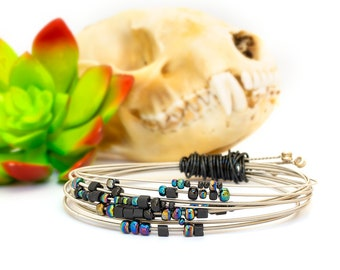Beaded Guitar String Bracelet, Black Beads on Silver Strings, Upcycled Wire Wrapped Bangle