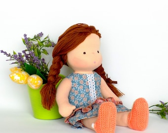 Organic Rag Waldorf doll with clothes - Steiner doll 11 inch tall