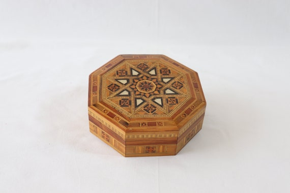 Vintage Wooden Handmade Jewelry Box, Marquetry Jew
