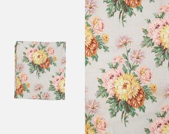 Vintage Rose Chrysanthemum Daisies Floral Cotton Canvas - Barkcloth - Pink Purple Yellow - Uncut - Yards - Floral -  Botanical