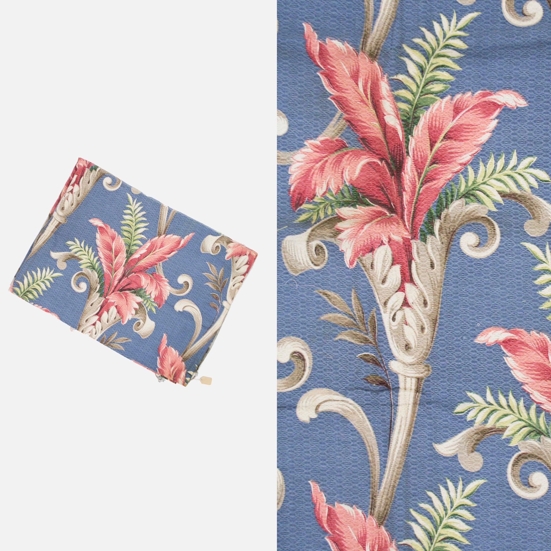 Non Vintage Tropical Tropical Tropical Barkcloth - Periwinkel bleu - coupe - verges - Floral - volutes - feuilles de palmier - botanique - vert - gris - rouge 3ff48f