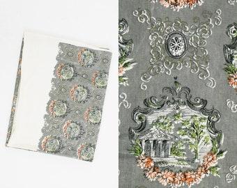 Vintage 1950's Greek Temple Novelty Print -  Archeticture - Vigniettes - Landscape - Gray & Floral - Trompe L'Oiel - Cotton - 2 Yards