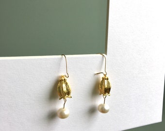 Onliest 14K gold filled lily of the valley flower fresh water pearl hoop earrings dangle earrings drop earrings handmade earrings