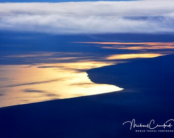 Gold Sunset at 36000 feet over waters in Australia near Melbourne