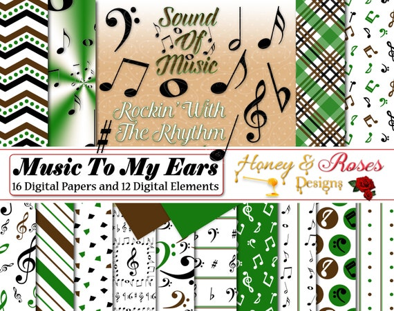 Music Digtal Papers Clipart Notes Music Word Art Green Etsy