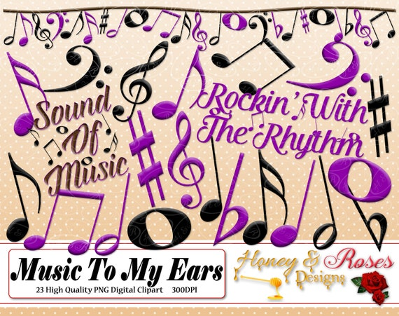 Music Digital Clipart 300dpi Musical Music Notes Sound Of Etsy
