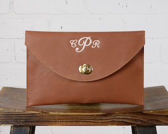 Personalized Leather Clutch Bag | Monogram Envelope Clutch Purse Bridesmaid Gift | Custom Clutch Wedding Gift for Her Mom Wife | Whiskey