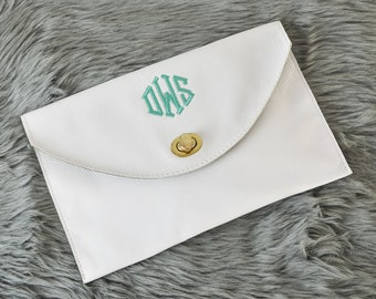 Personalized White Leather Clutch Bag | Monogrammed Envelope Clutch Purse Bridesmaid Gift | Custom Clutch Wedding Gift for Her Woman Mom