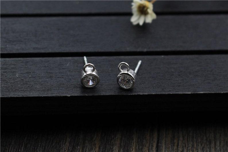 925 Sterling Silver Ear Pin Earrings With Zircon Accessories Earrings Findings Jewelry Making\uff08XA0361\uff09 DIY Earrings With Ring