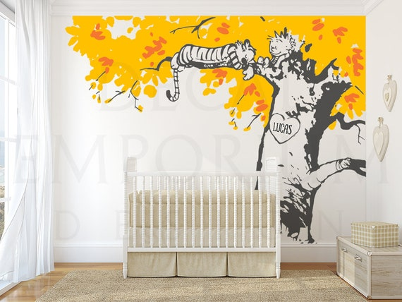 Calvin And Hobbes Sleeping On Tree Wall Decal