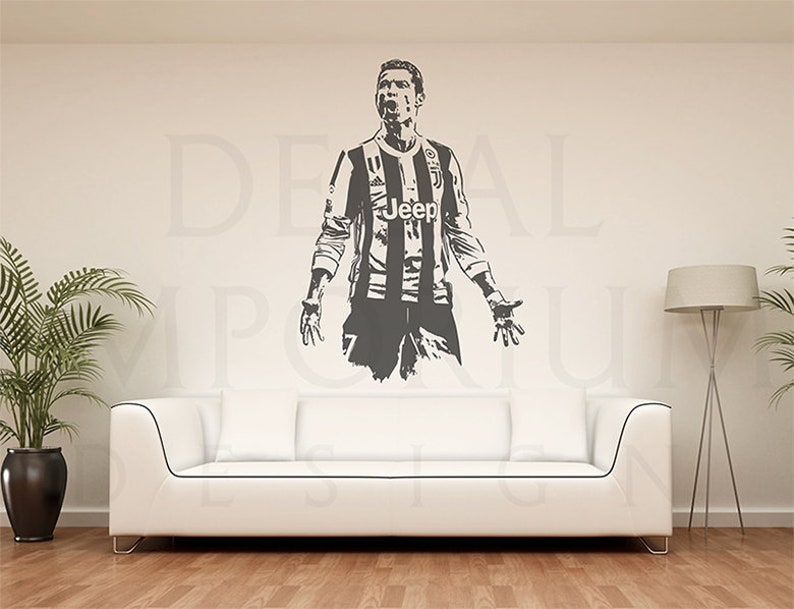 outlet store 52112 94a97 Cristiano Ronaldo Juventus Soccer Football Wall Decal Kids Boy Girl Room  0097s