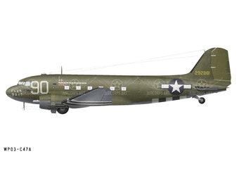 "Airplane Decal - C-47A Dakota ""Flak Bait"" Decorative Vinyl Wall Art"