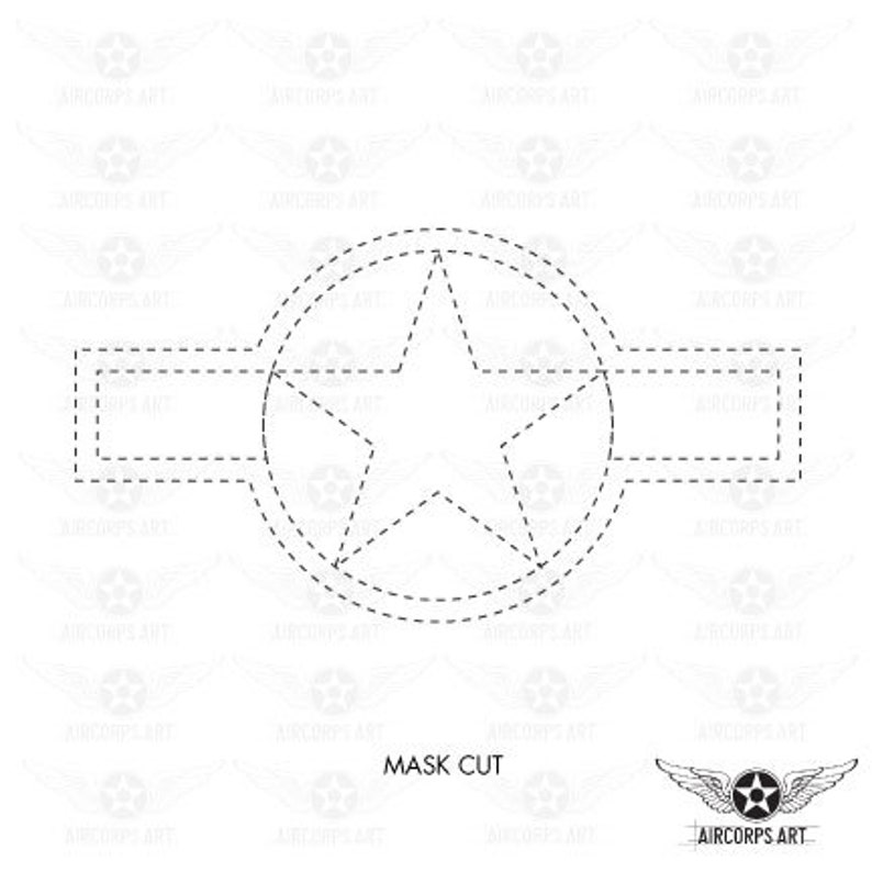 Army Air Force National Insignia Roundel Insignia Star and Bars Decal or Paint Mask U.S Air Force Decal WWII Airplane
