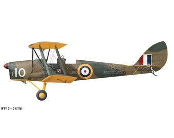 "Airplane Decal - De Havilland DH.82A ""Tiger Moth"" Decorative Vinyl Wall Art"
