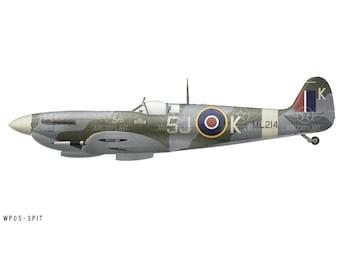 Airplane Decal - Spitfire Mk IXc Decorative Vinyl Decal Spitfire Mk IXc Decorative Vinyl Wall Art